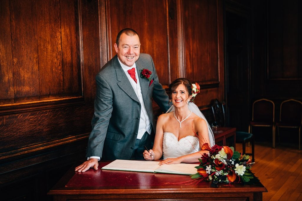 Signing the register in the Ballroom, Morpeth Town Hall