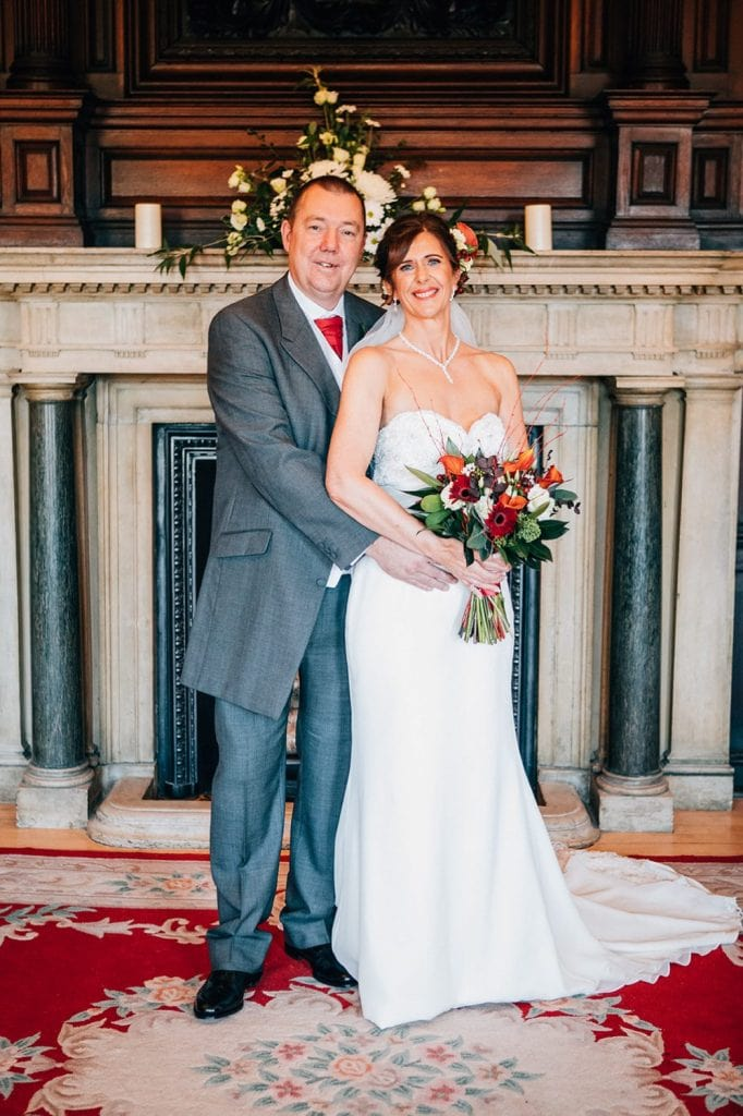 Bride & Groom in front of the fireplace Ballroom, Morpeth Town Hall