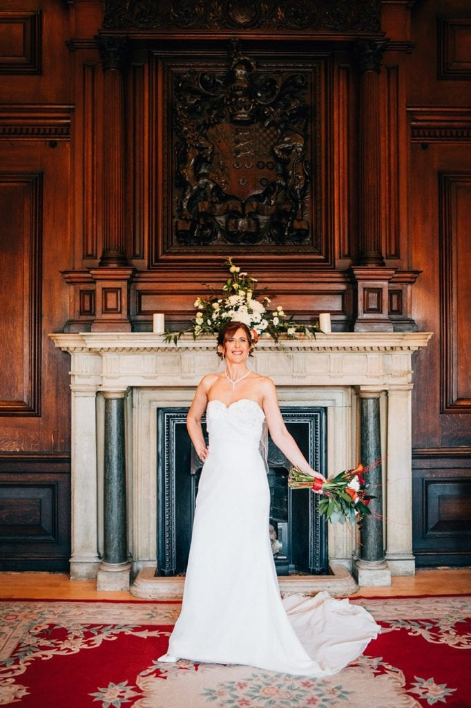 Bride in front of the fireplace of the Ballroom, Morpeth Town Hall
