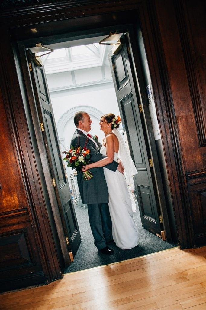Bride & Groom in the doorway of the Ballroom, Morpeth Town Hall