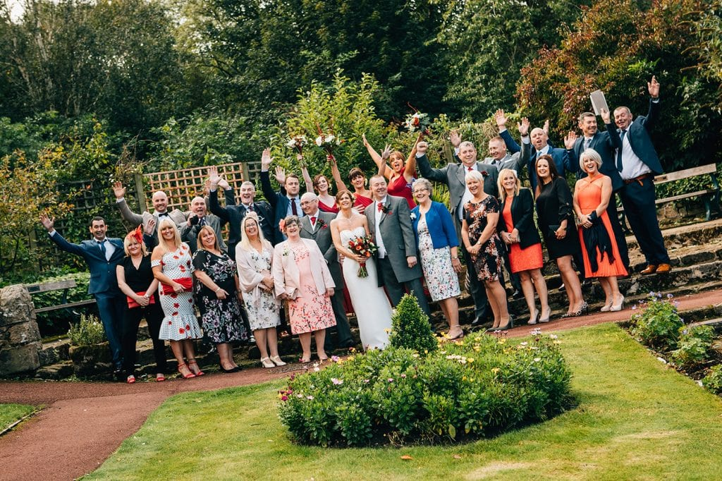 Wedding Party at Carlisle Park, Morpeth next to the Waterford Lodge Hotel