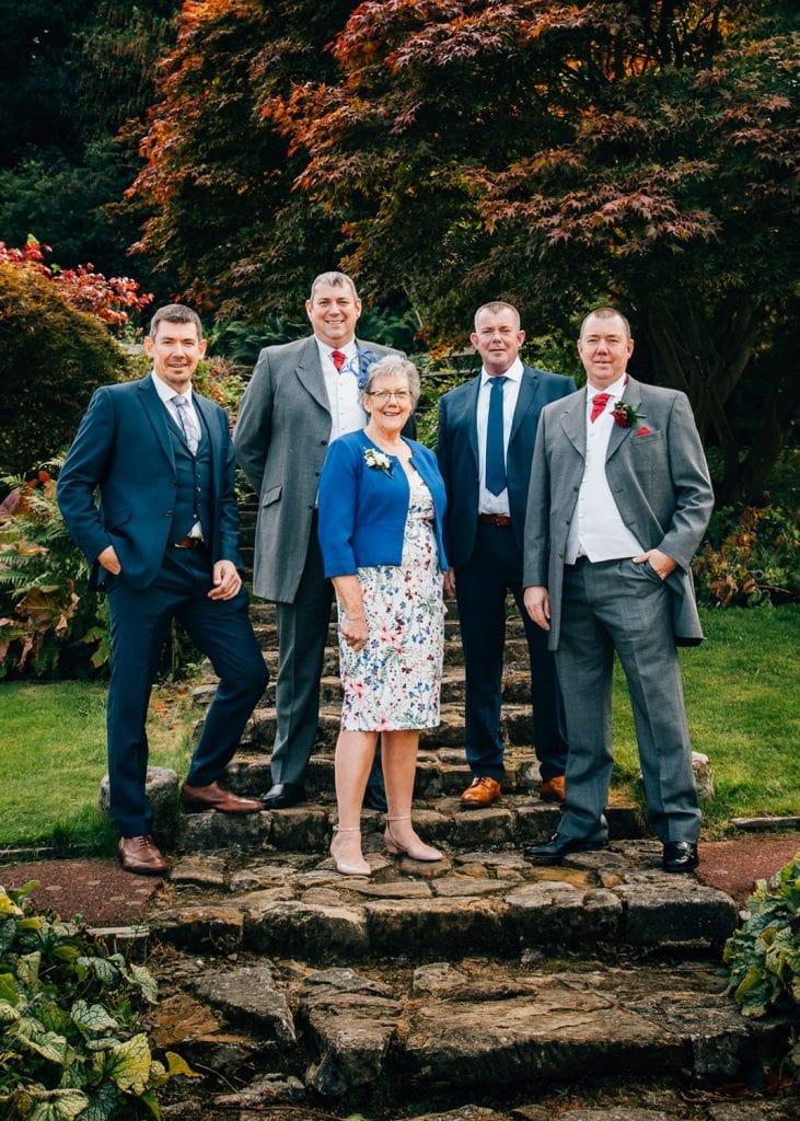 Groom with his mum & Brothers at Carlisle Park, Morpeth