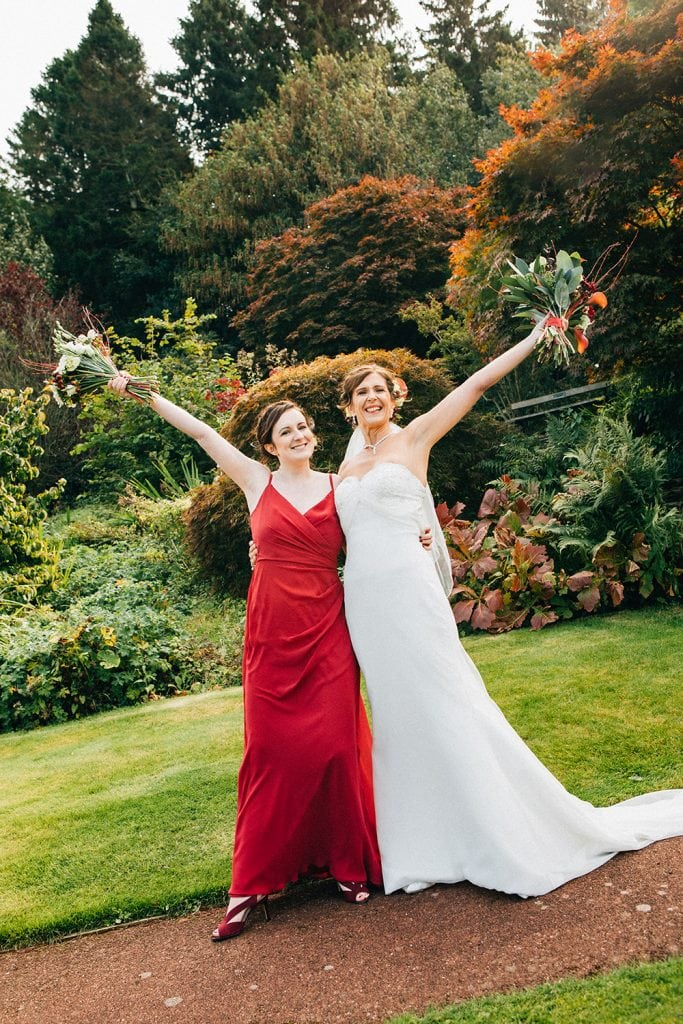 Bride with her daughter cheering at Carlisle Park, Morpeth