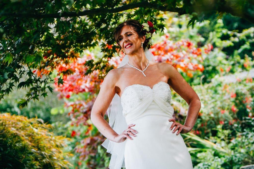 Bride under the trees at Carlisle Park, Morpeth