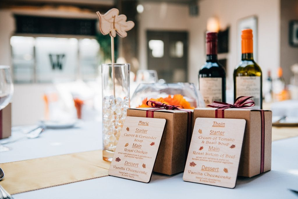 wooden table menus at The Waterford Lodge Hotel in Morpeth
