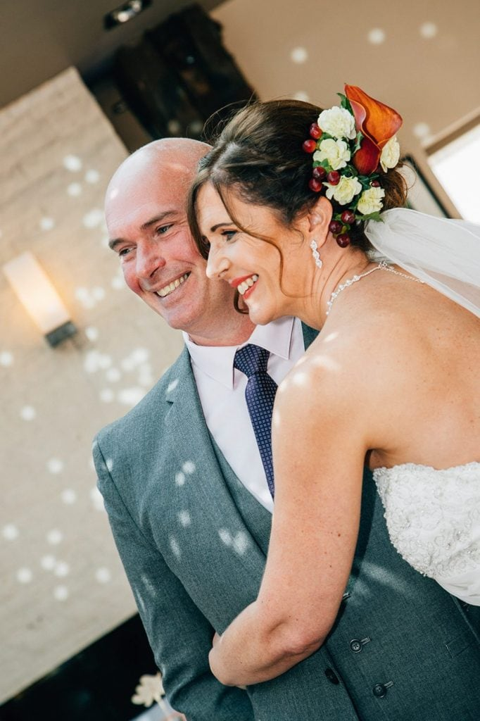 Bride hugging her brother at The Waterford Lodge in Morpeth