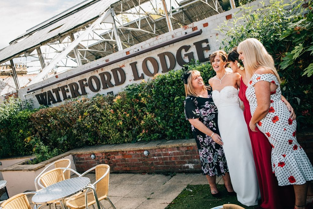 Bride with her friends at The Waterford Lodge in Morpeth