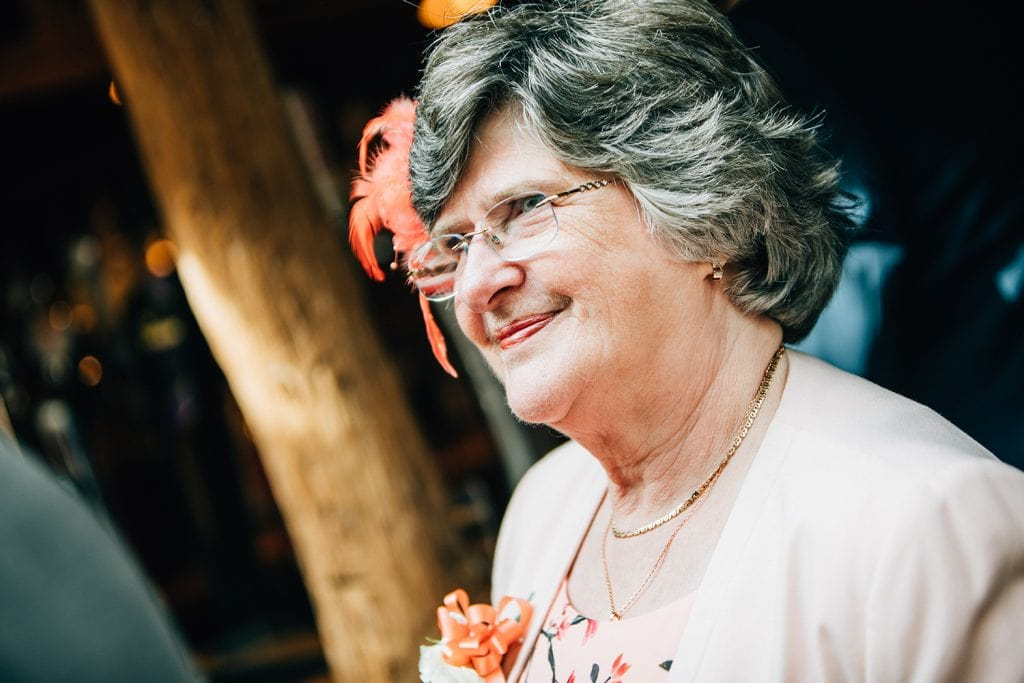 Brides Mum smiling at The Waterford Lodge in Morpeth