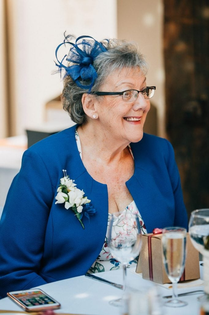 Grooms mum enjoying the speeches at The Waterford Lodge in Morpeth