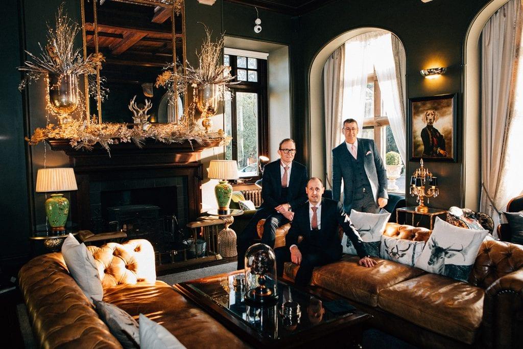 Groom and groomsmen at Ellingham Hall in Northumberland