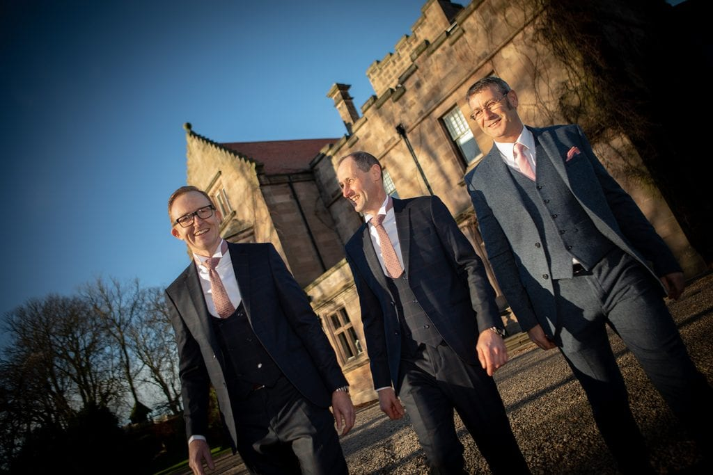 Bestman, Groom & his brother outside Ellingham Hall in Northumberland
