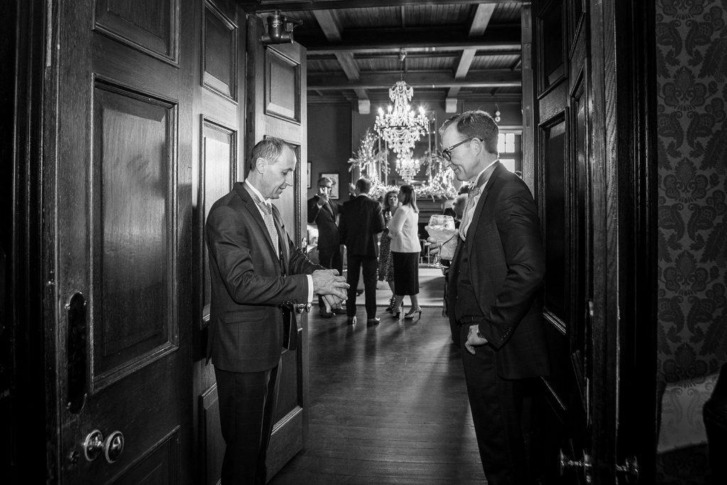Groom & Best man waitng in the corridor before the wedding service