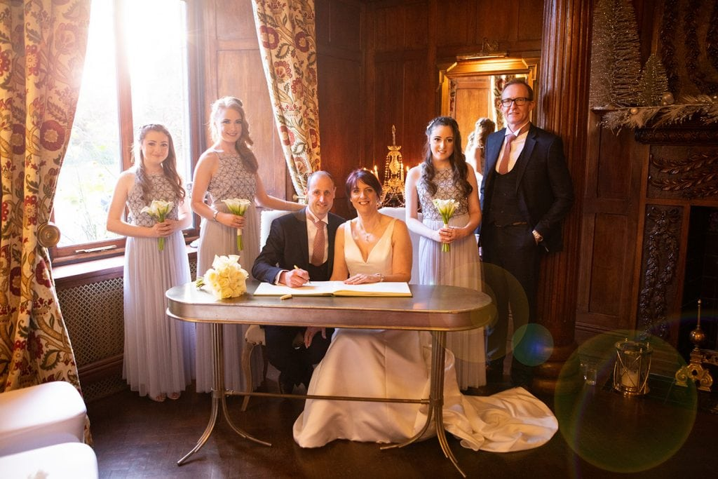 The bridal party at Ellingham Hall in Northumberland
