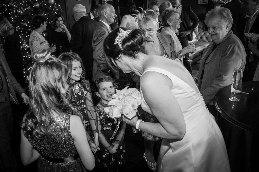 Bride meeting younger guests