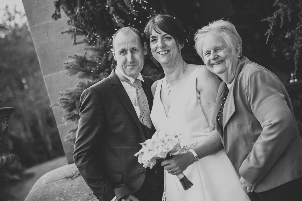 The groom, bride and her mother