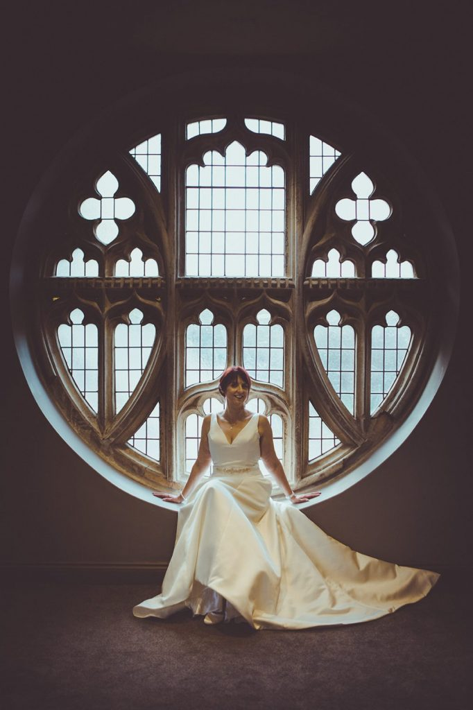 The bride in the chapel window of Ellingham Hall in Northumberland