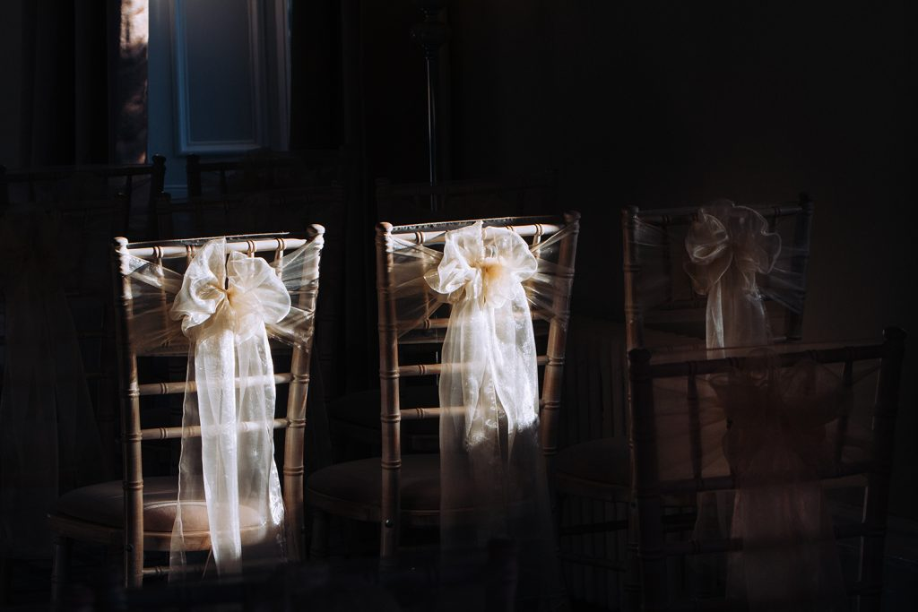 Chair covers in the winter sunlight
