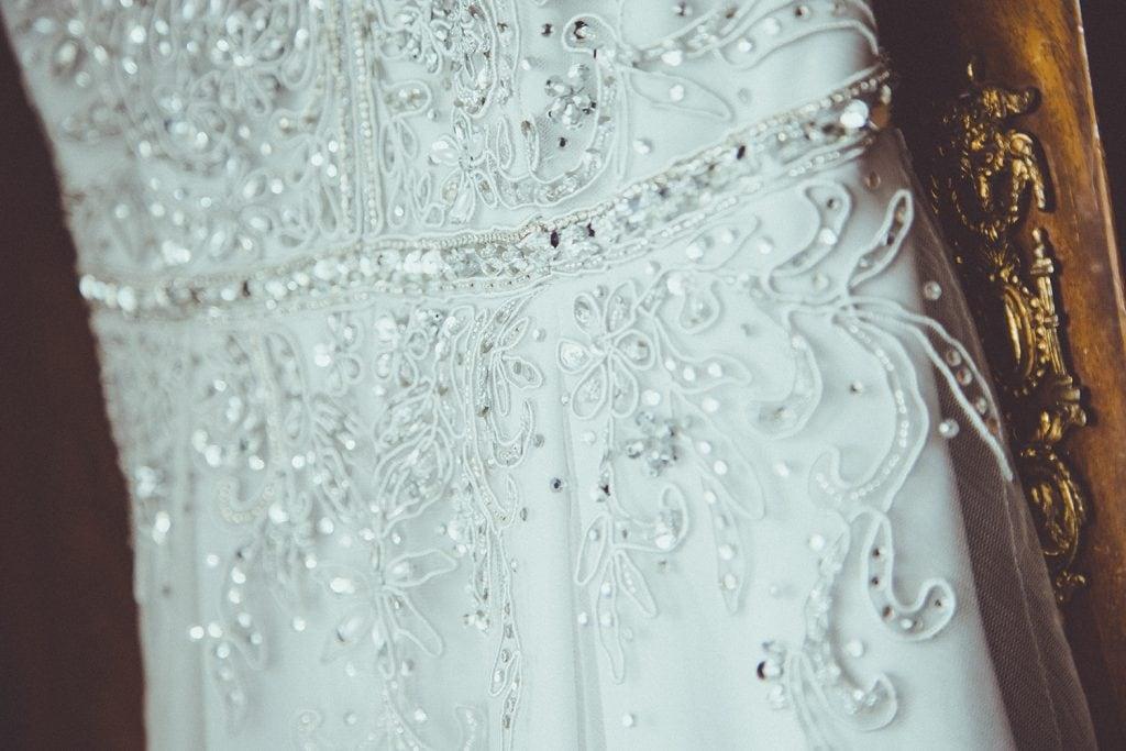 Close up of brides wedding dress