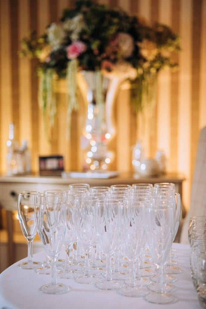 A collection of champagne glasses at Horton Grange Hotel in Northumberland
