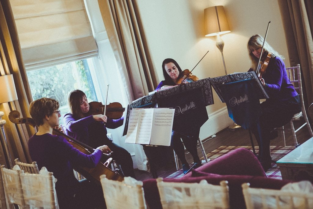 Quartet playing during service at Horton Grange Hotel in Northumberland