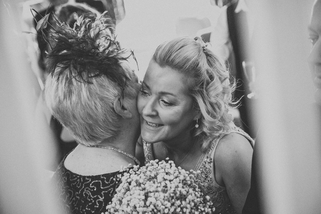 Bride hugging Grooms mum at The Horton Grange Hotel
