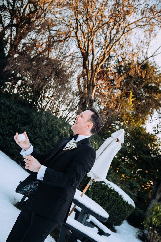 Best man ready to throw a snow ball at The Horton Grange Hotel