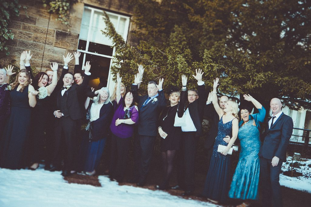 Guests waving outside Horton Grange Hotel