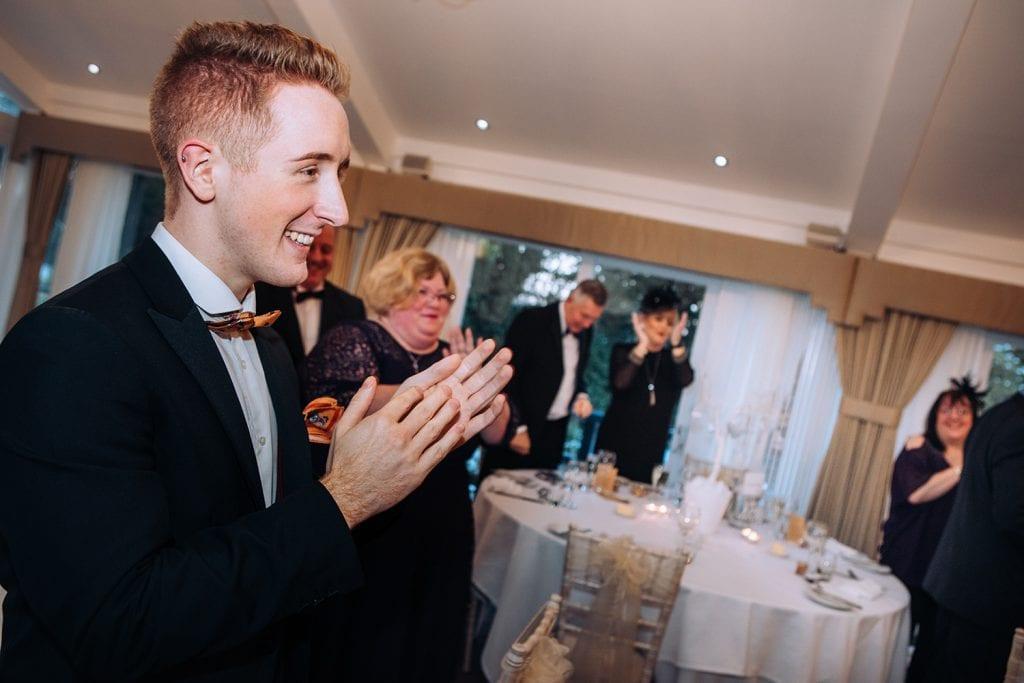 Guests cheering Bride & Groom at Horton Grange in Northumberland