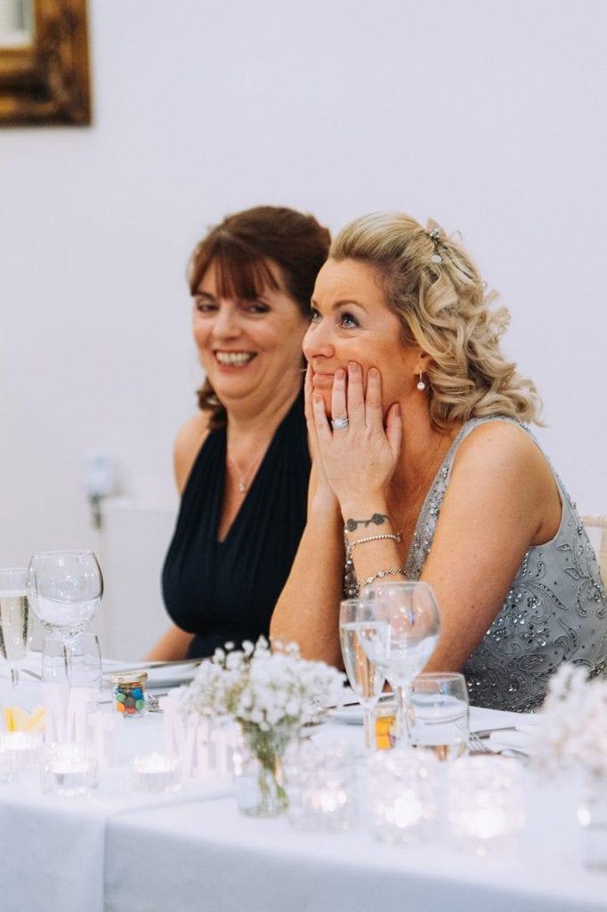 Bride holding back tears at Horton Grange in Northumberland