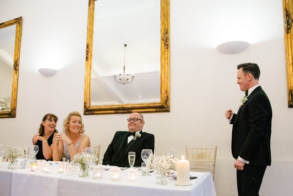 Best man realising the groom had stolen his glasses
