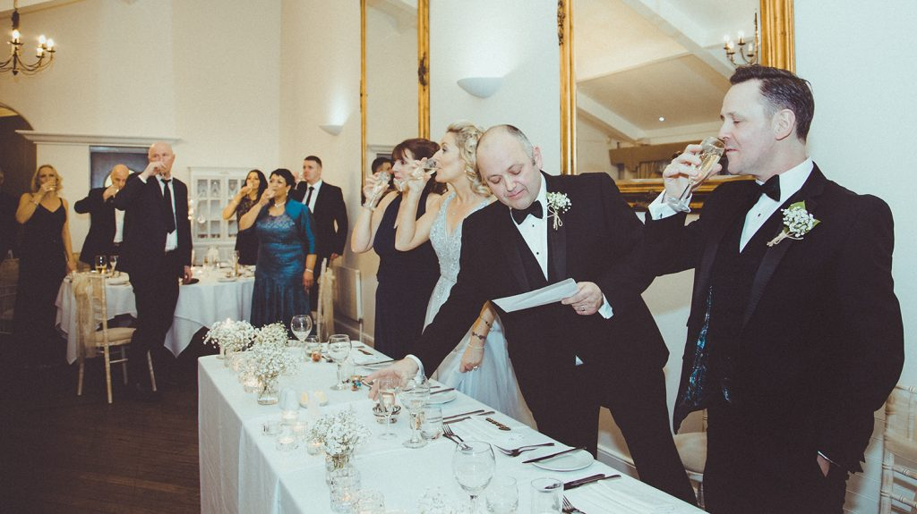 Toast after grooms speech at Horton Grange in Northumberland
