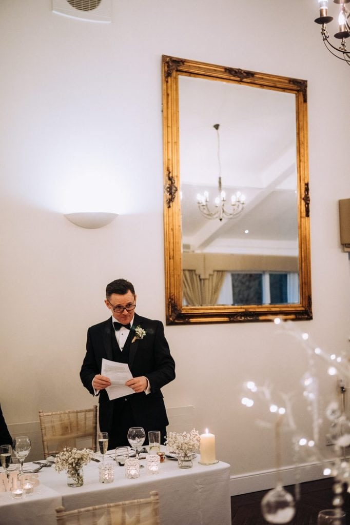 Bestman reading his speach at Horton Grange in Northumberland