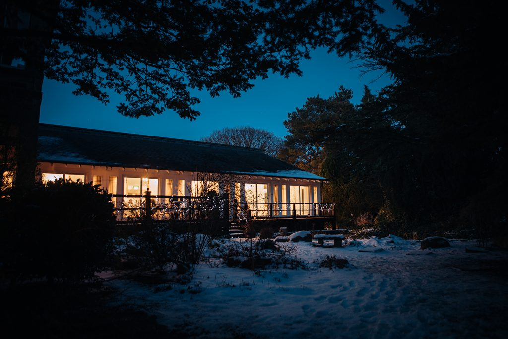 Horton Grange at night and covered in snow
