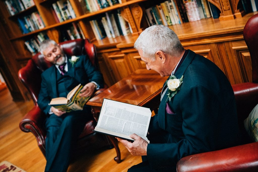 Groom & Bestman messing about in the Library at Doxford Hall