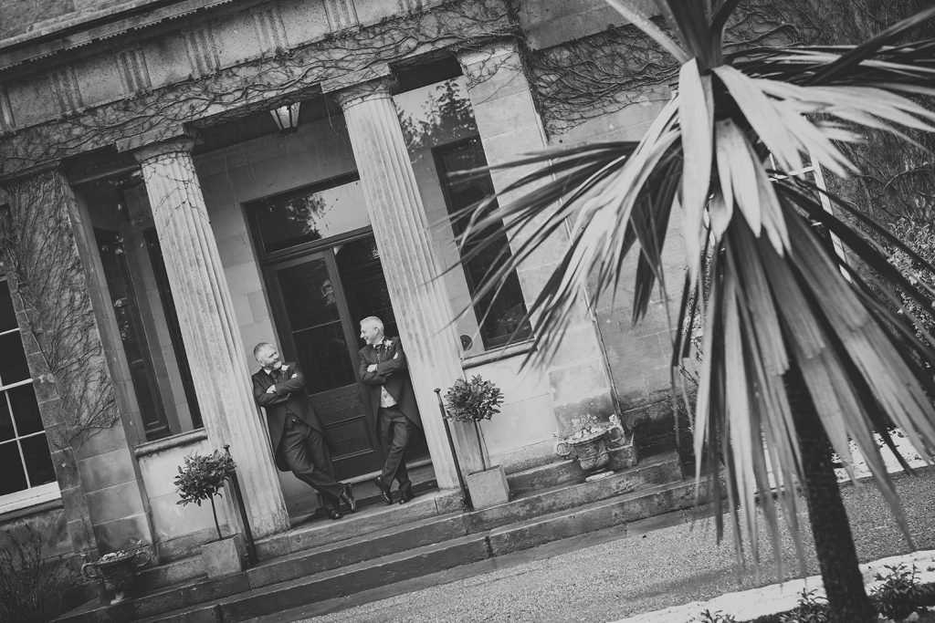 Michael and his best man at the enterance to Doxford Hall