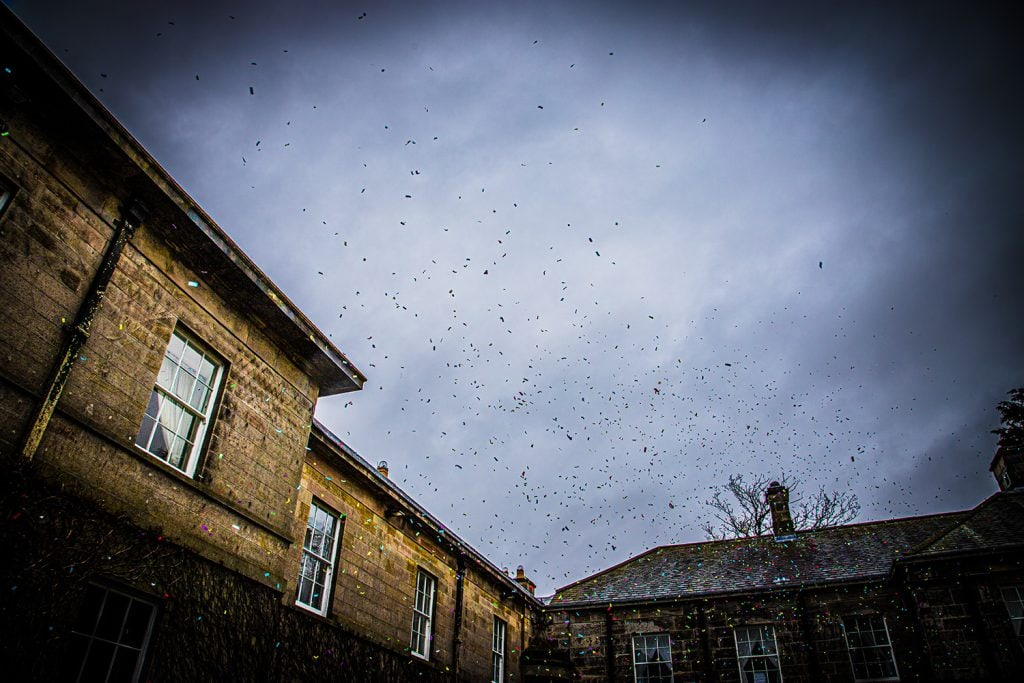 Confetti in the wind of Doxford Hall