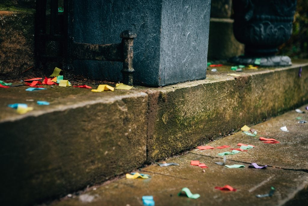 Confetti on the steps of Doxford Hall