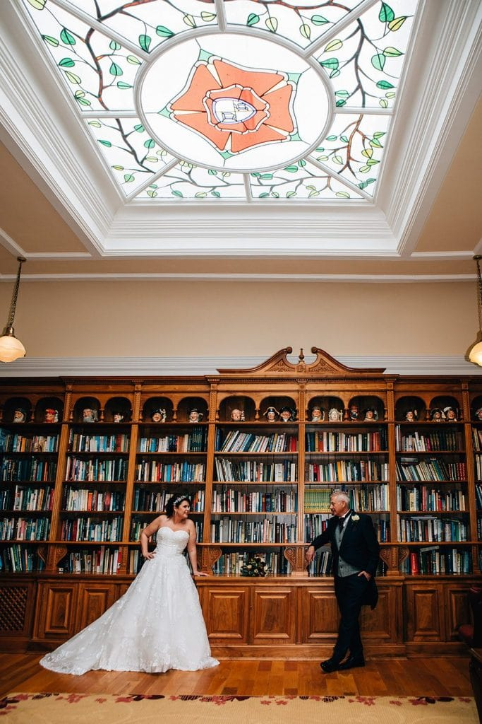 Bride & Groom in the Libary Room, Doxford Hall
