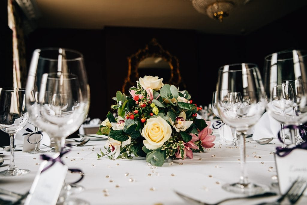 Table centres in the Northumberland Room at Doxford Hall