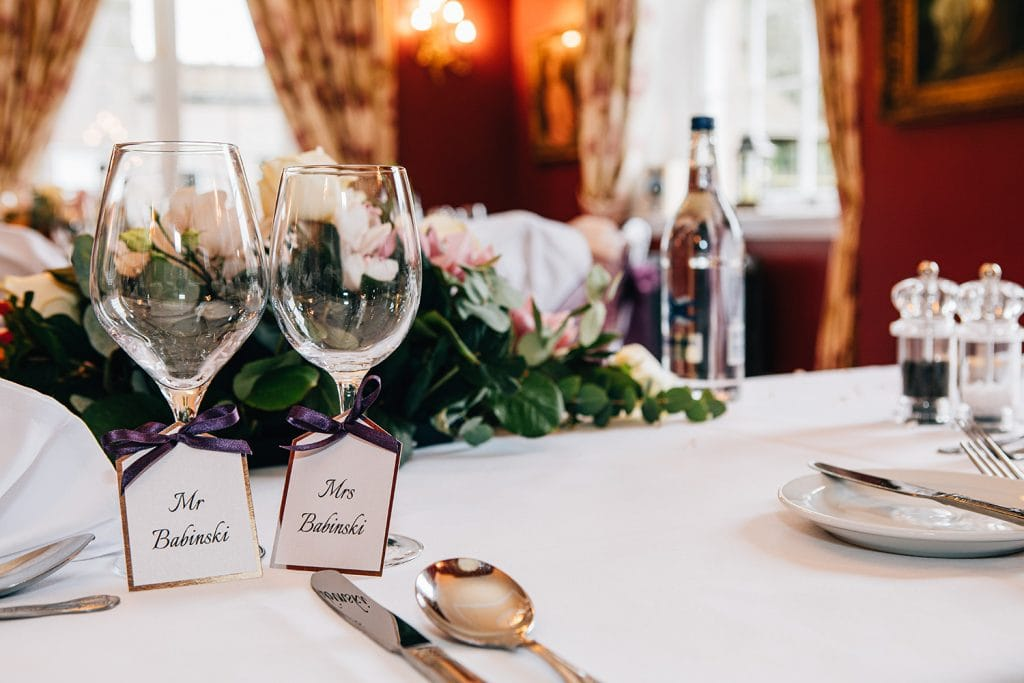 Wine glasses and place names