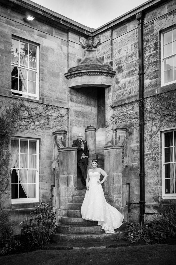 Michael & Kerry on the steps outside of Doxford Hall in Northumberland
