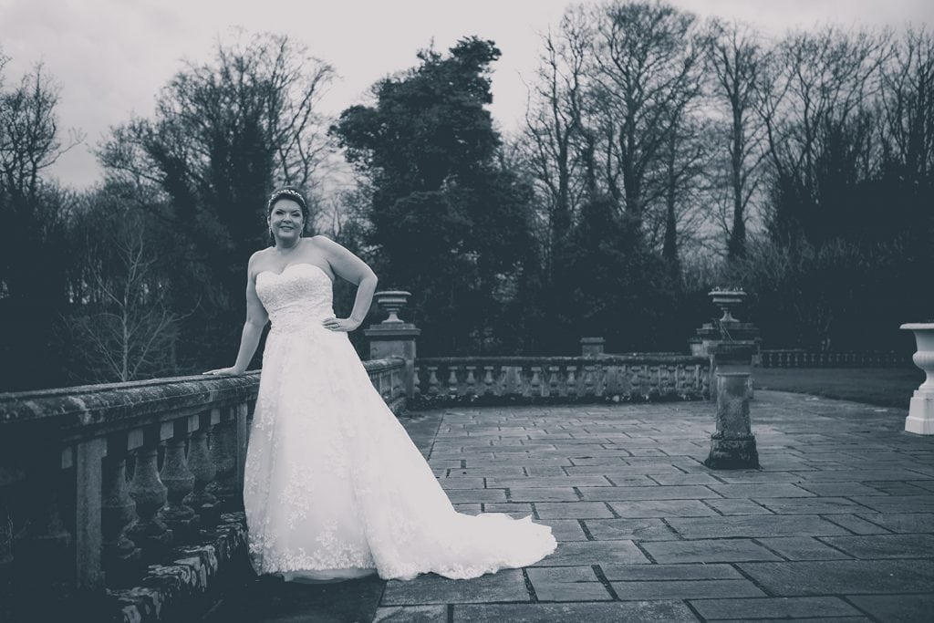 The bride on the outdoor terrace at Doxford Hall