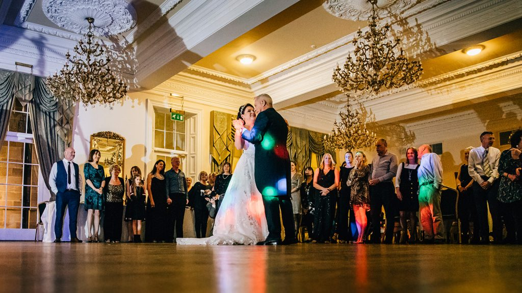 The bride & grooms first dance, watched by all their guests at Doxford Hall