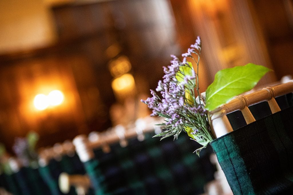 Tartan Chair Covers and heather decoration
