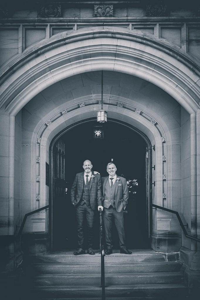 Dylan and his best man at the entrance of The Mansion House in Jesmond, Newcastle