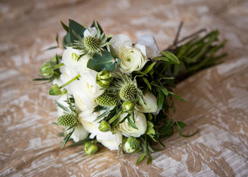Teasel & White Rose bouquet