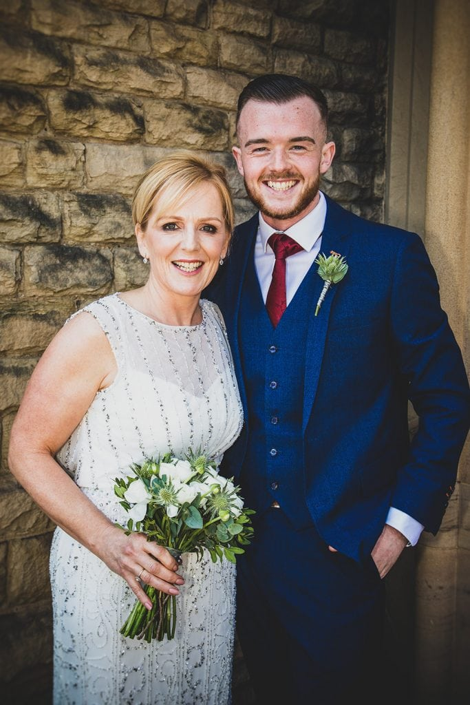 The bride & her son hugging at The Mansion House in Jesmond, Newcastle