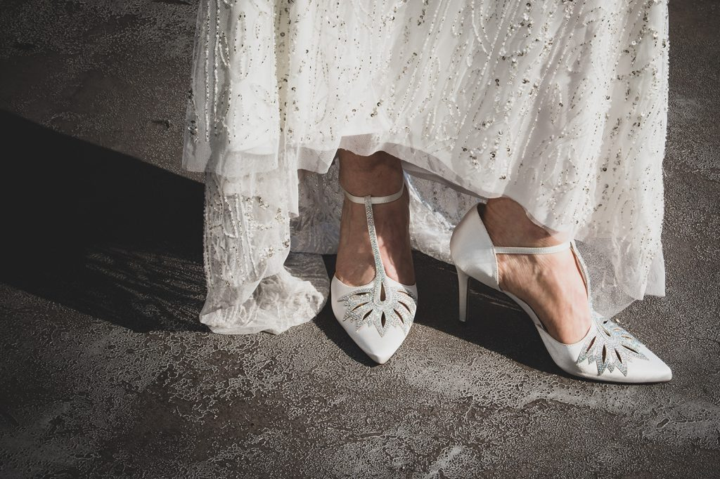 Close up of the brides shoes