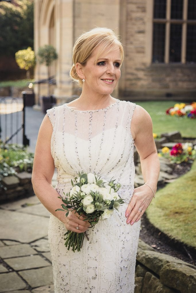 The Bride posing outside of The Mansion House in Jesmond, Newcastle