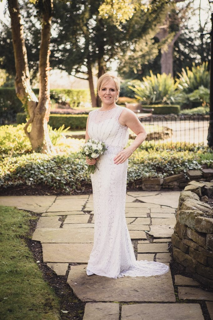 The bride in the grounds of The Mansion House in Jesmond, Newcastle
